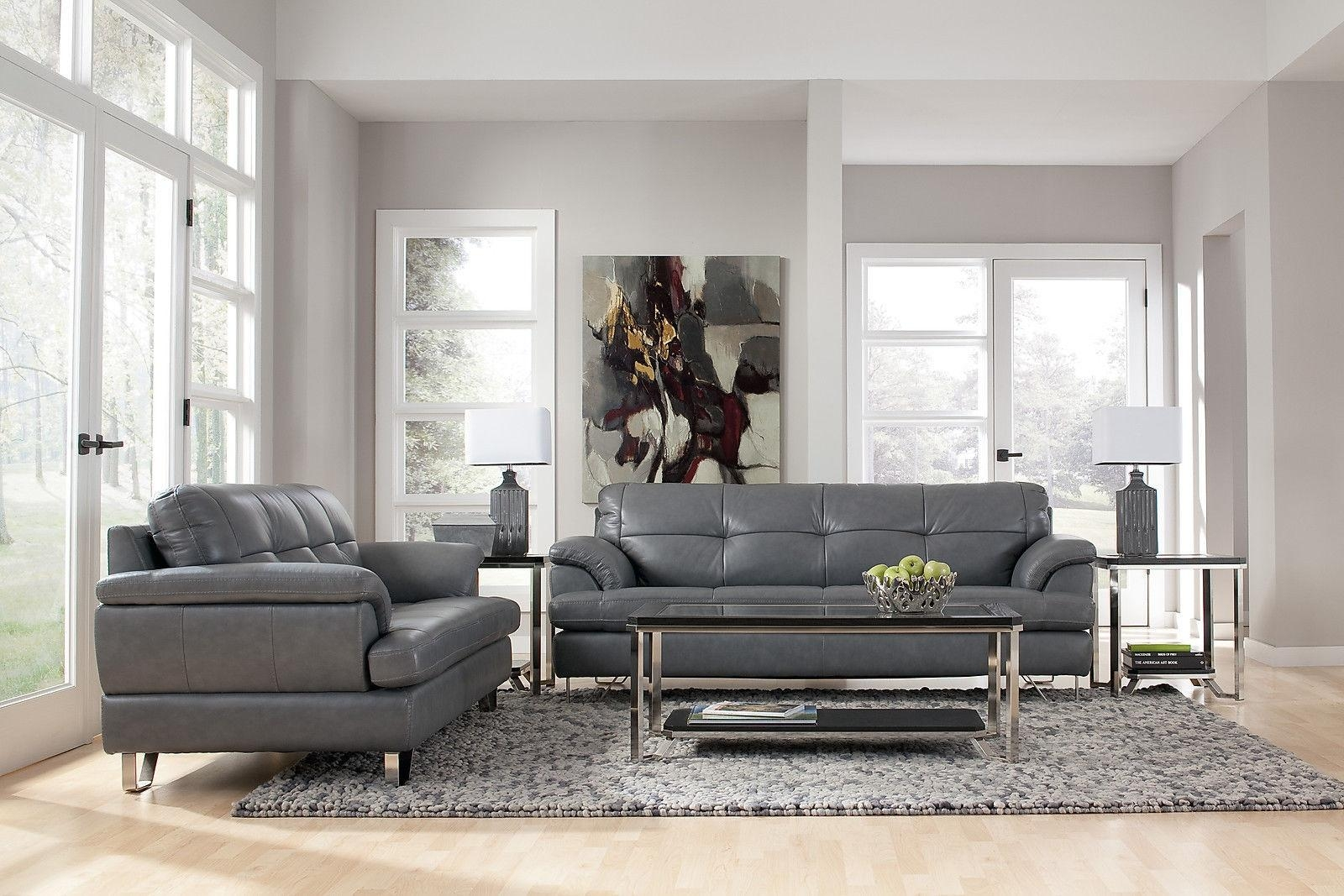 Charcoal Gray Leather Sofa Sets Frankford