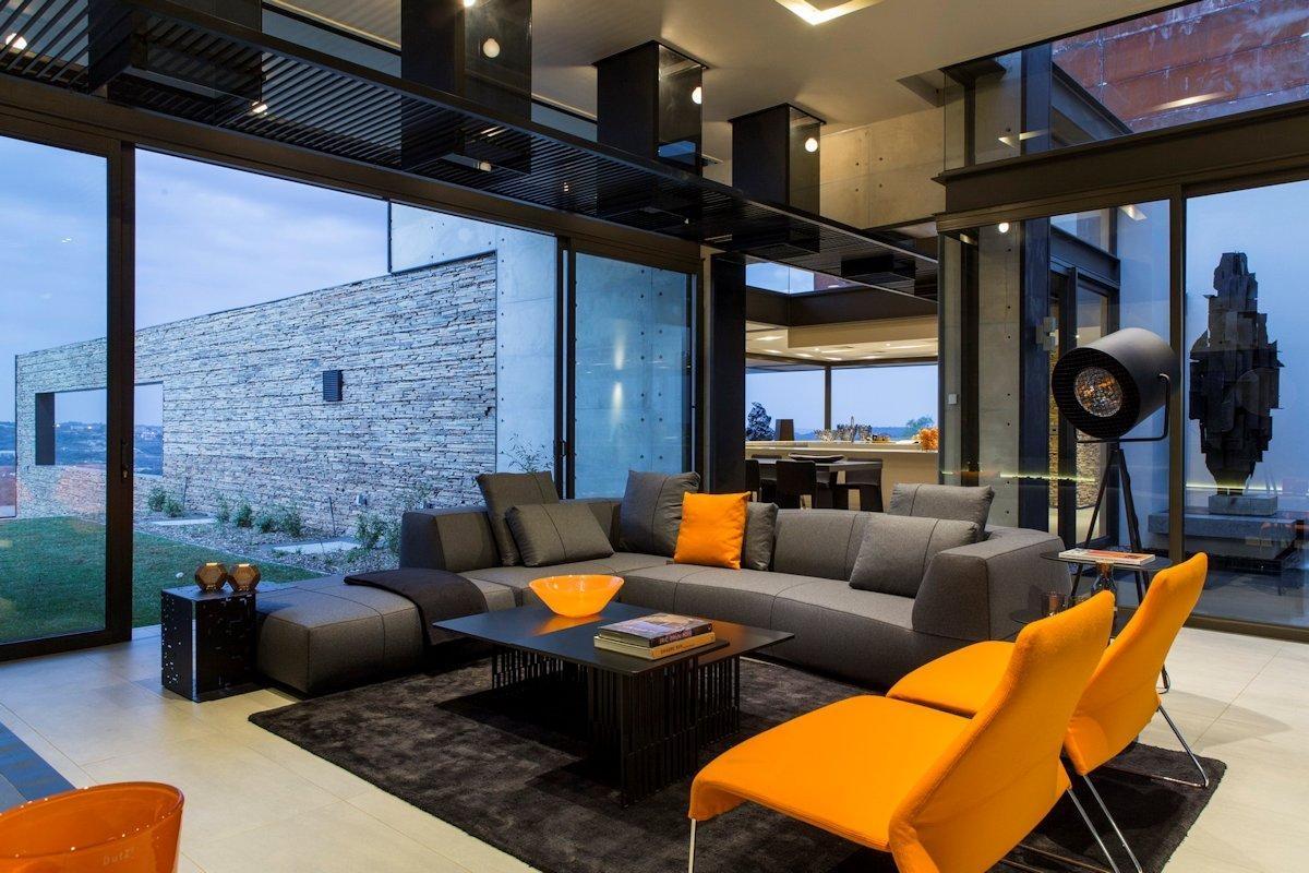 Grey Sofa, Orange Chairs, Rug, Coffee Table, Luxurious Modern In Orange Sofa Chairs (View 14 of 20)