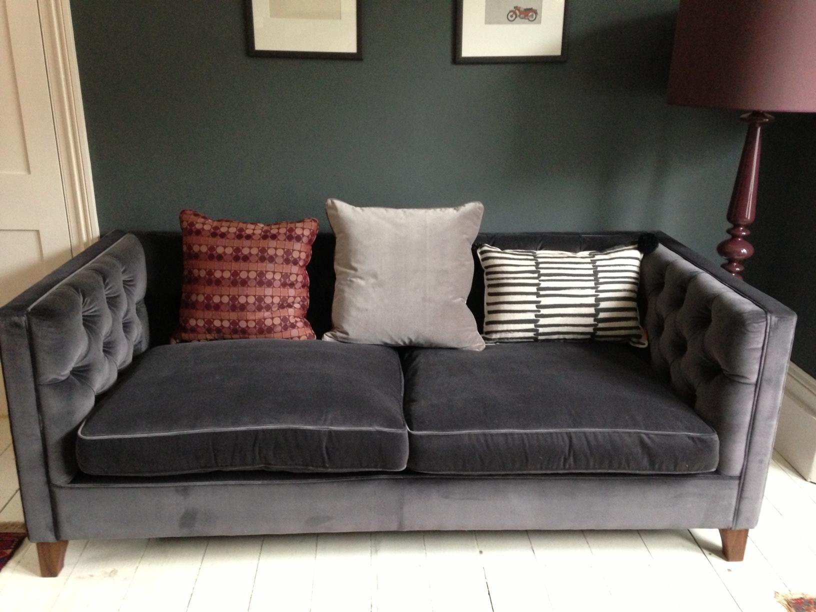 Grey Velvet Sofa Uk | Tehranmix Decoration In Barrister Velvet Sofas (View 8 of 20)