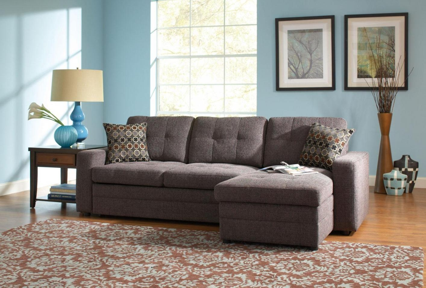 Gus Black Fabric Sectional Sleeper Sofa - Steal-A-Sofa Furniture throughout Los Angeles Sleeper Sofas