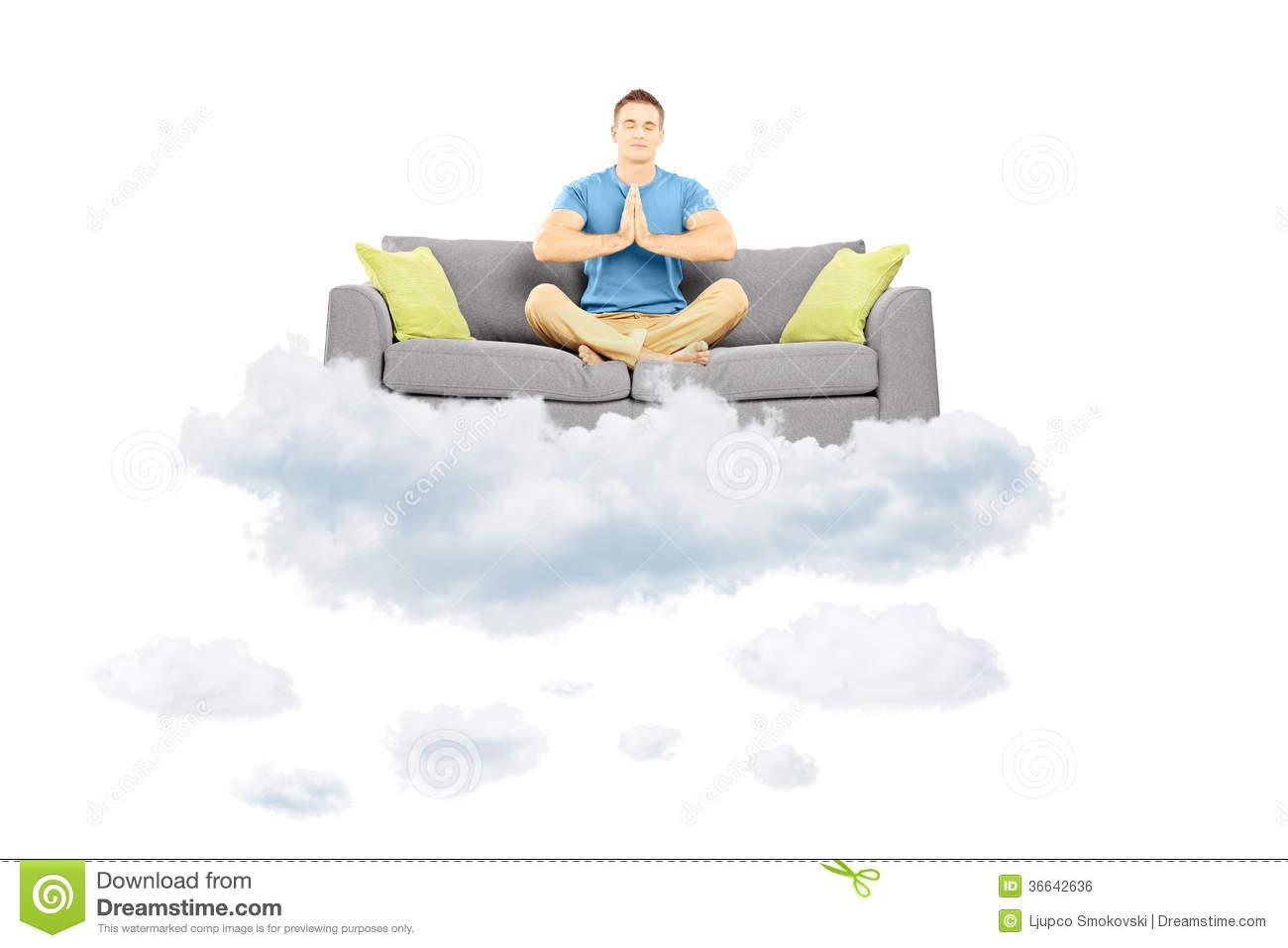 Guy Meditating On A Sofa And Floating On A Cloud Royalty Free intended for Floating Cloud Couches