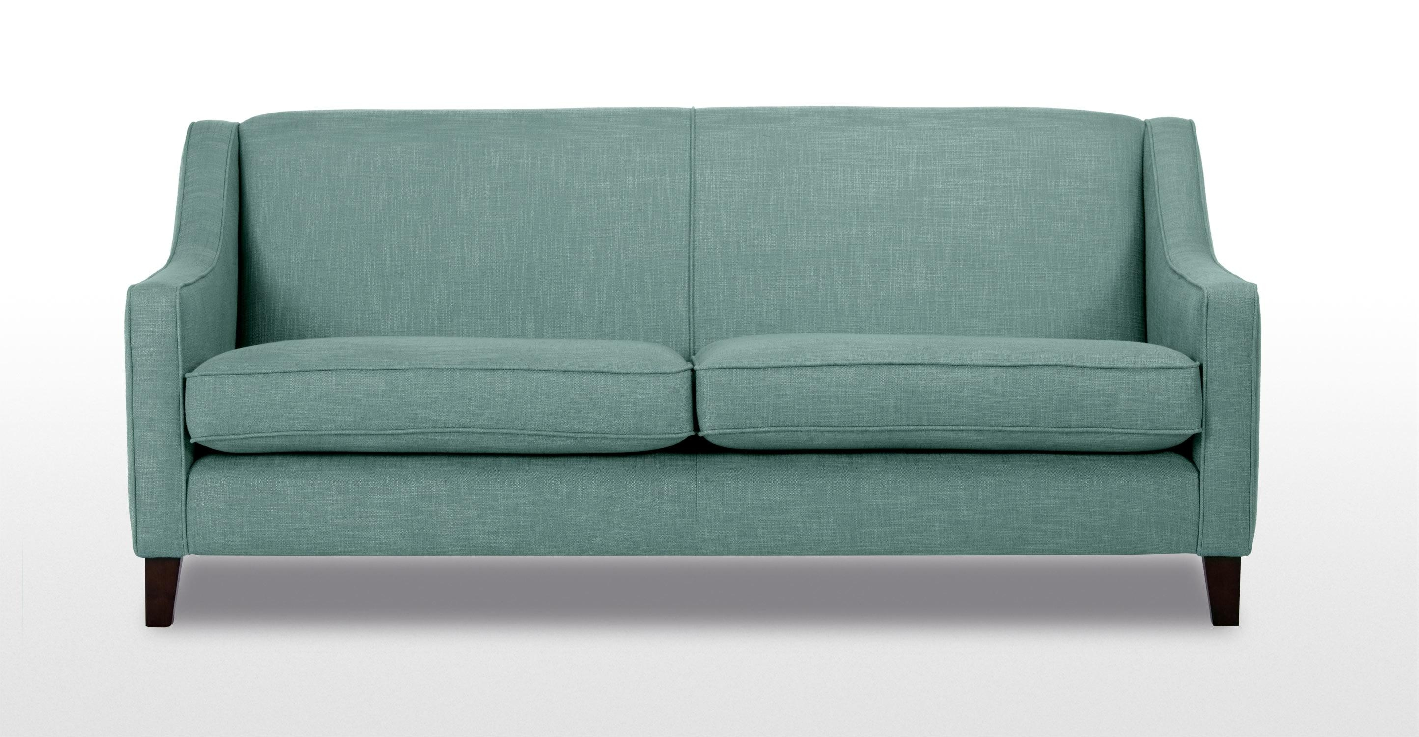 Halston 3 Seater Sofa In Aqua | Made Within Aqua Sofa Beds (Image 14 of 20)