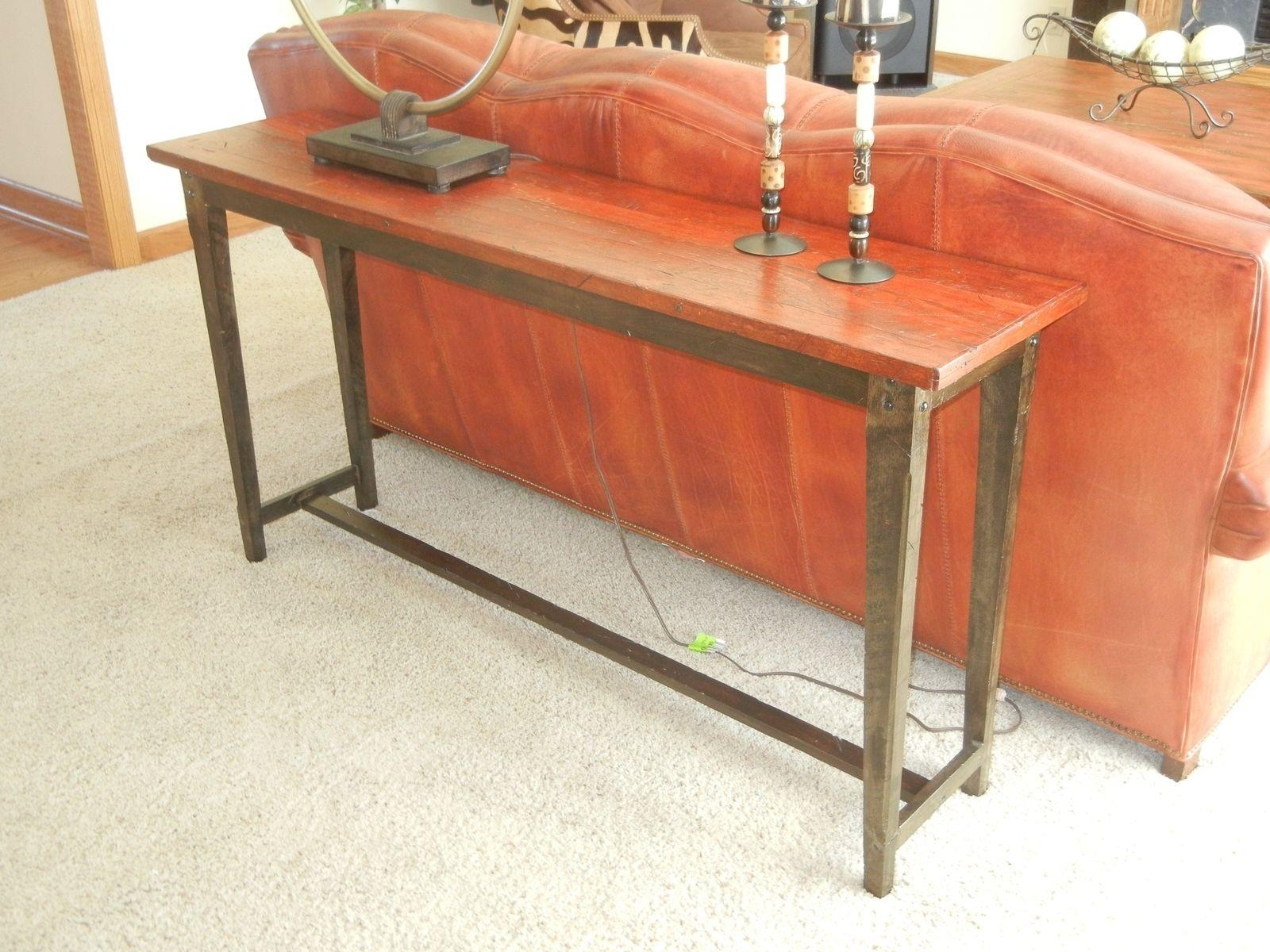 Hand Crafted Reclaimed Barnwood Sofa Tableecho Peak Design Throughout Barnwood Sofa Tables (Image 7 of 20)