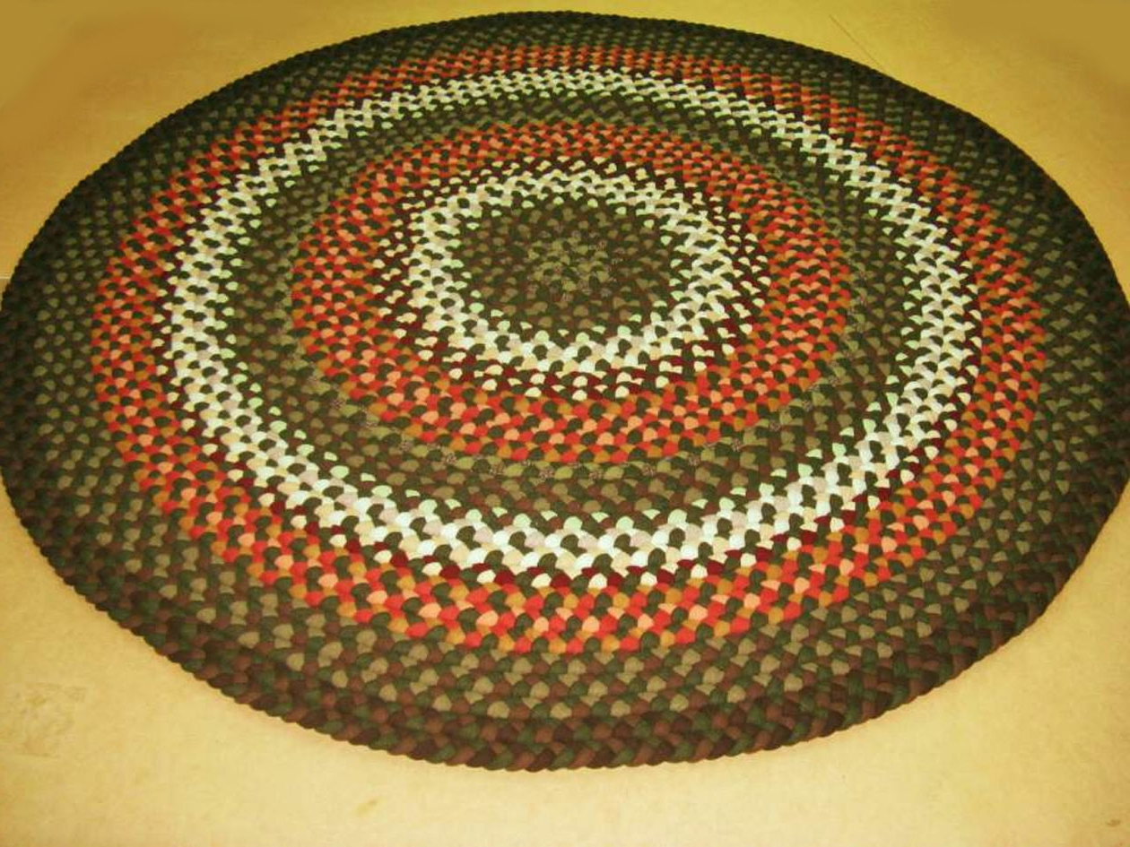 "Handmade Braided Rugsmarge:""alberta""a 7' Round Braided Rug Throughout Buy Braided Rugs For Less (Image 5 of 10)"