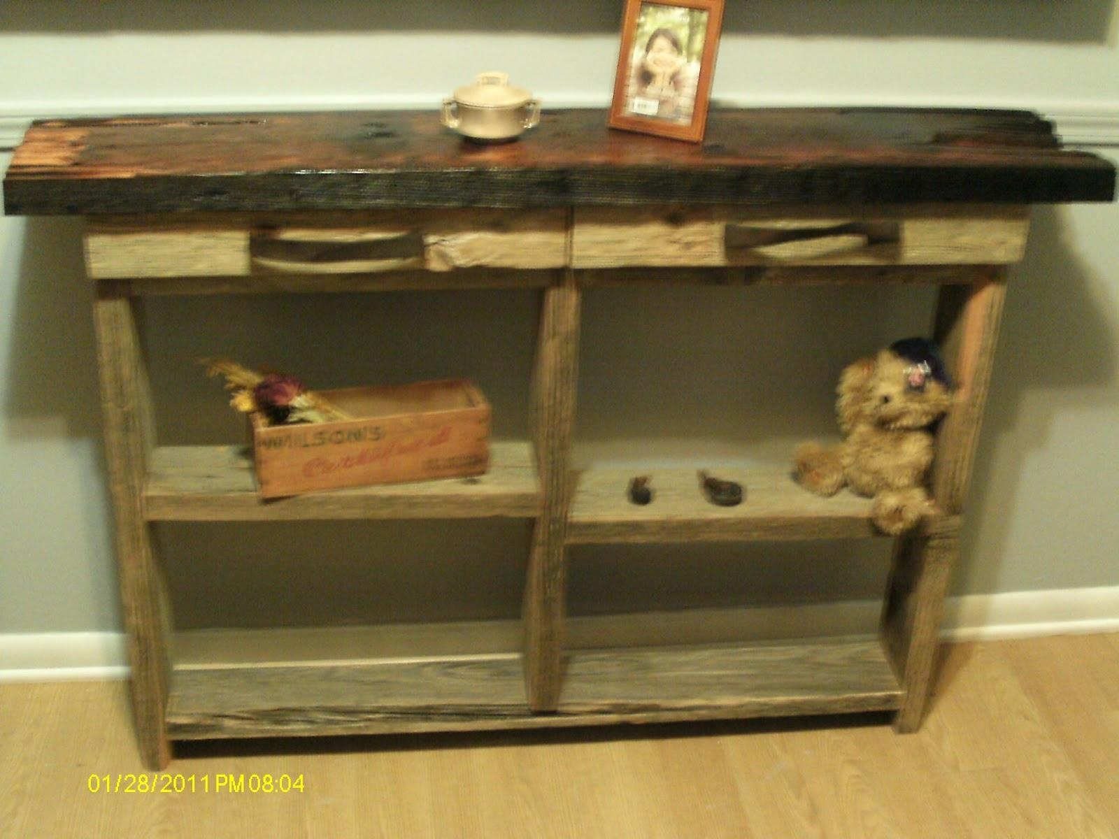 Handmade Rustic & Log Furniture: Rustic Barnwood Sofa/wall Table With Barnwood Sofa Tables (Image 8 of 20)