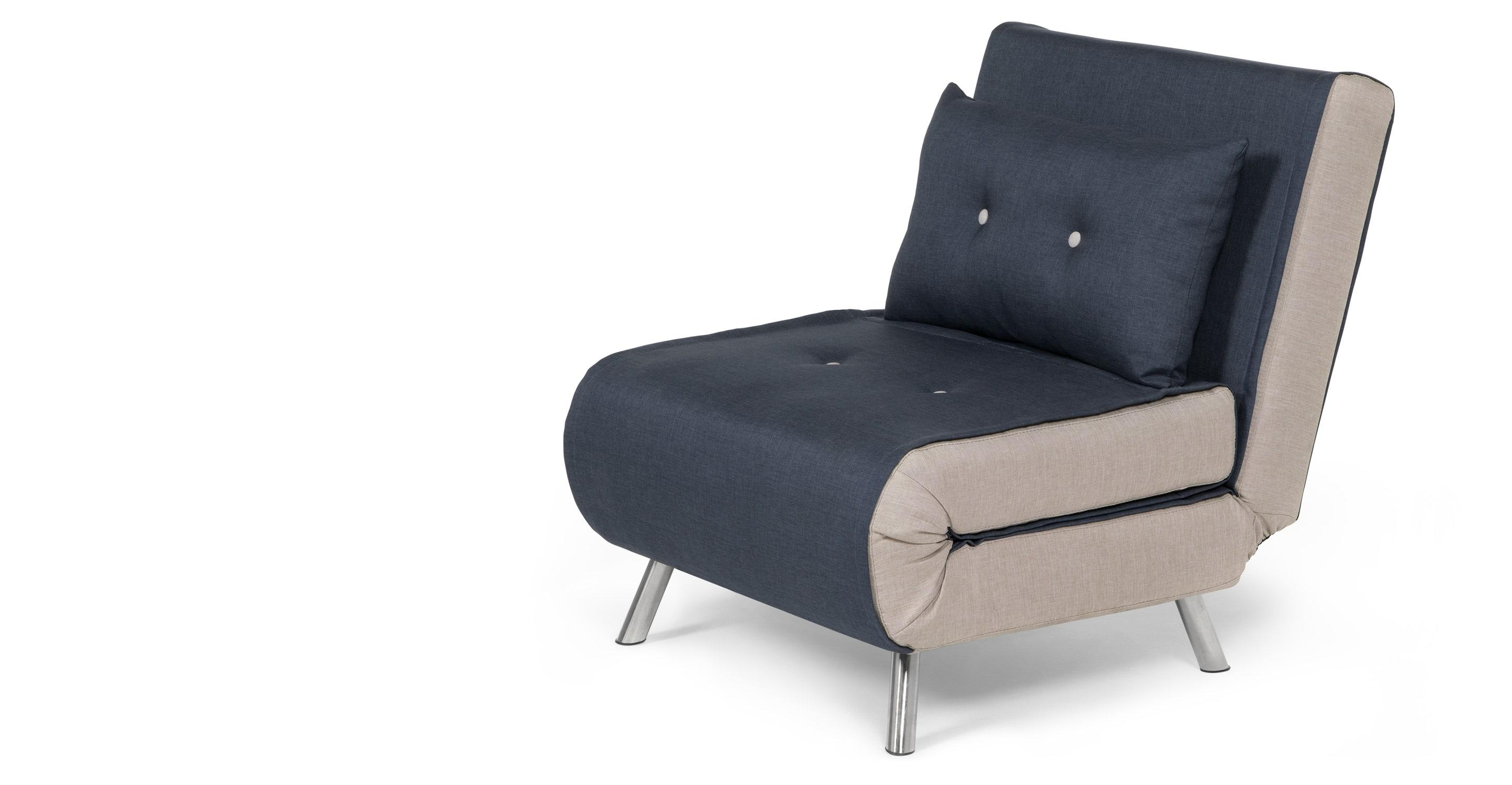 Haru Single Sofa Bed, Quartz Blue | Made Intended For Single Seat Sofa Chairs (Image 9 of 20)