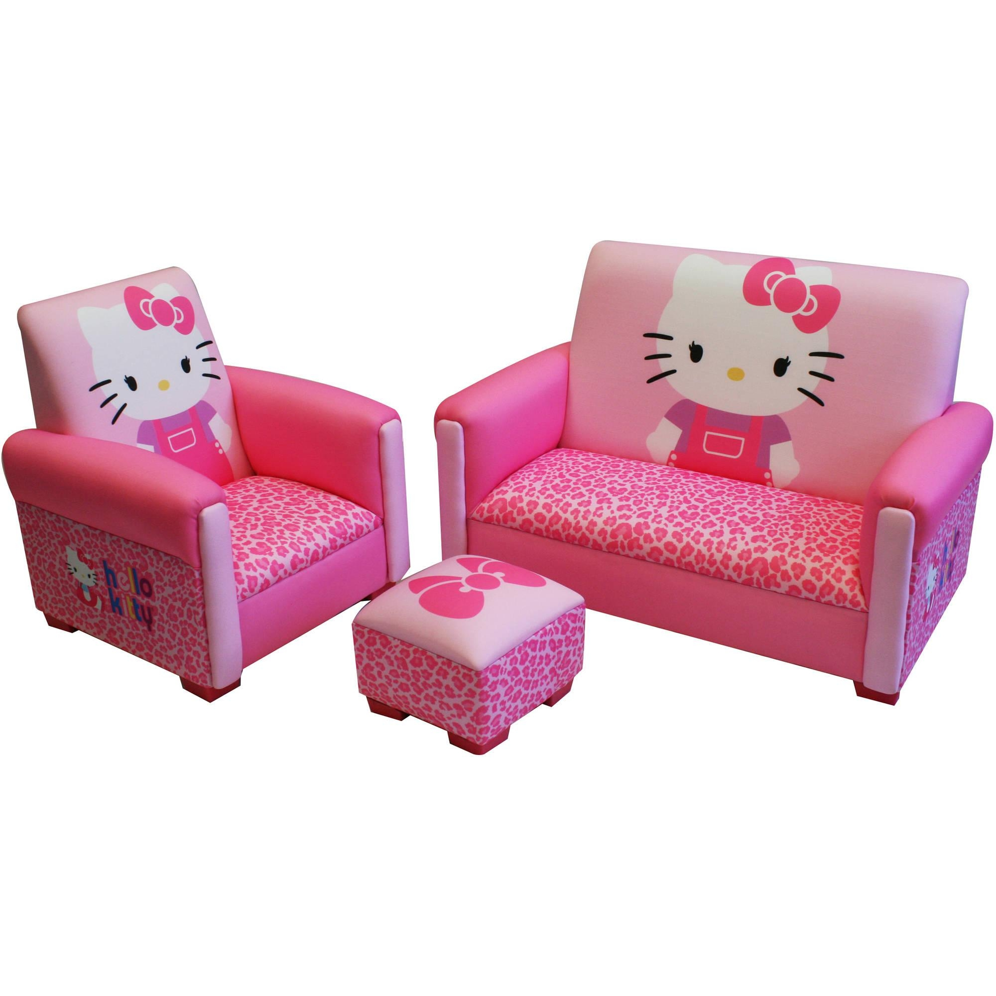 Hello Kitty Bows Toddler 3-Piece Sofa, Chair And Ottoman Set with regard to Toddler Sofa Chairs