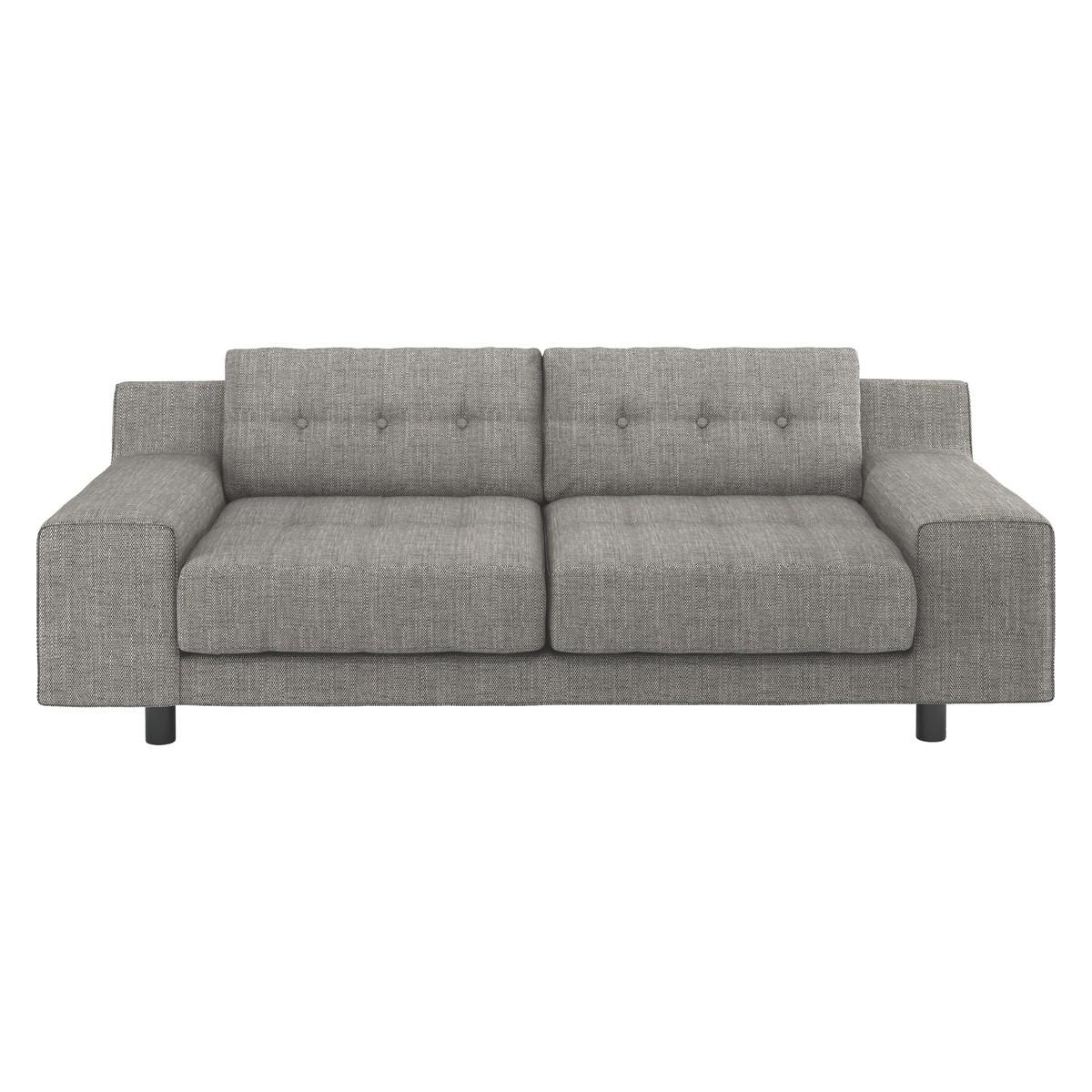 Hendricks Black And White Italian Woven Fabric 2 Seater Sofa | Buy Throughout Black 2 Seater Sofas (Image 11 of 20)