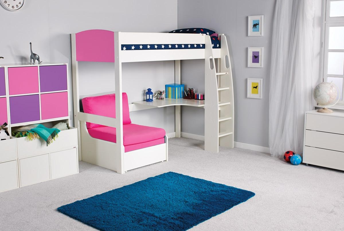 High Sleeper Bed With Futon And Desk Roselawnlutheran Pertaining To Sofa