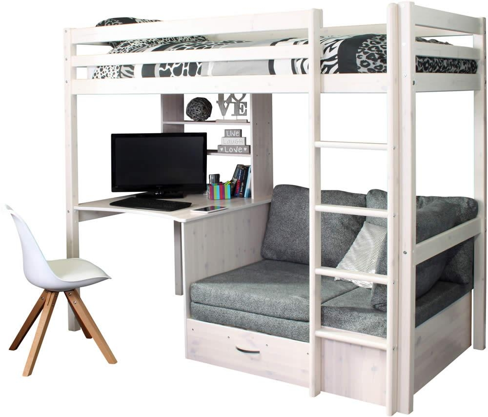 Hit 9 High Sleeper Bed With Grey Chair Bed Pertaining To High Sleeper Bed With Sofa (Image 9 of 20)