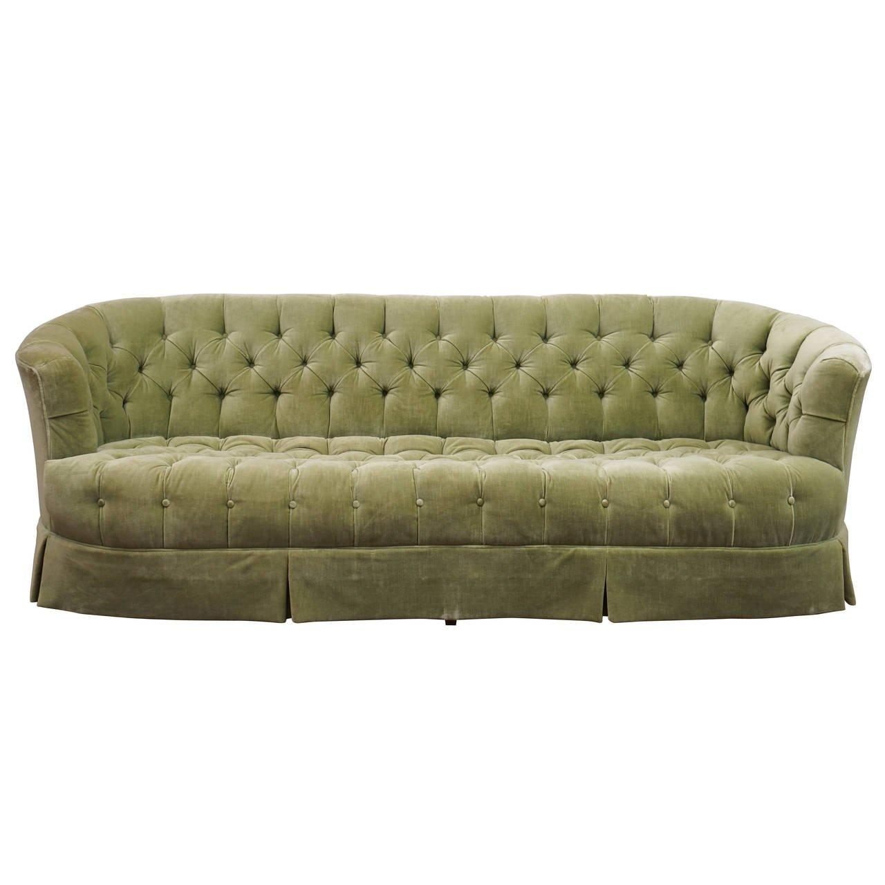 Hollywood Regency Chesterfield Mint Green Velvet Tufted Sofa For Regarding Mint Green Sofas (Image 7 of 20)