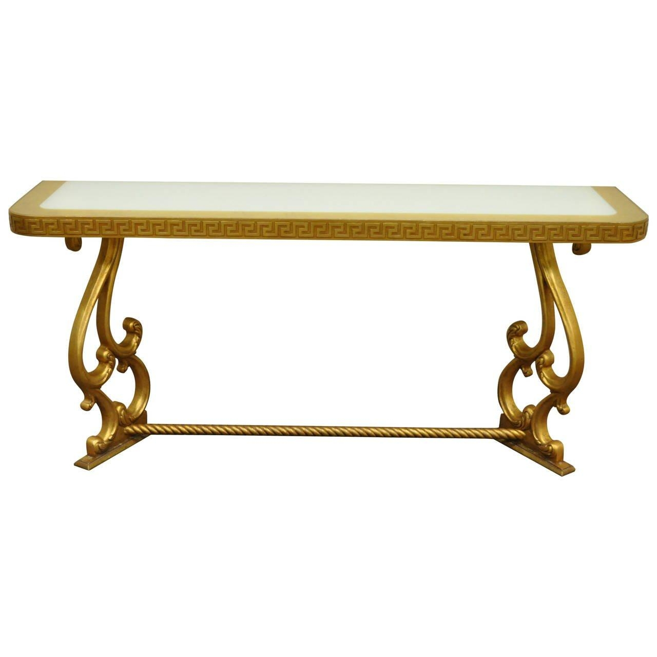 Hollywood Regency Gold Leaf Greek Key Console Table In The Pertaining To Gold Sofa Tables (Image 11 of 20)