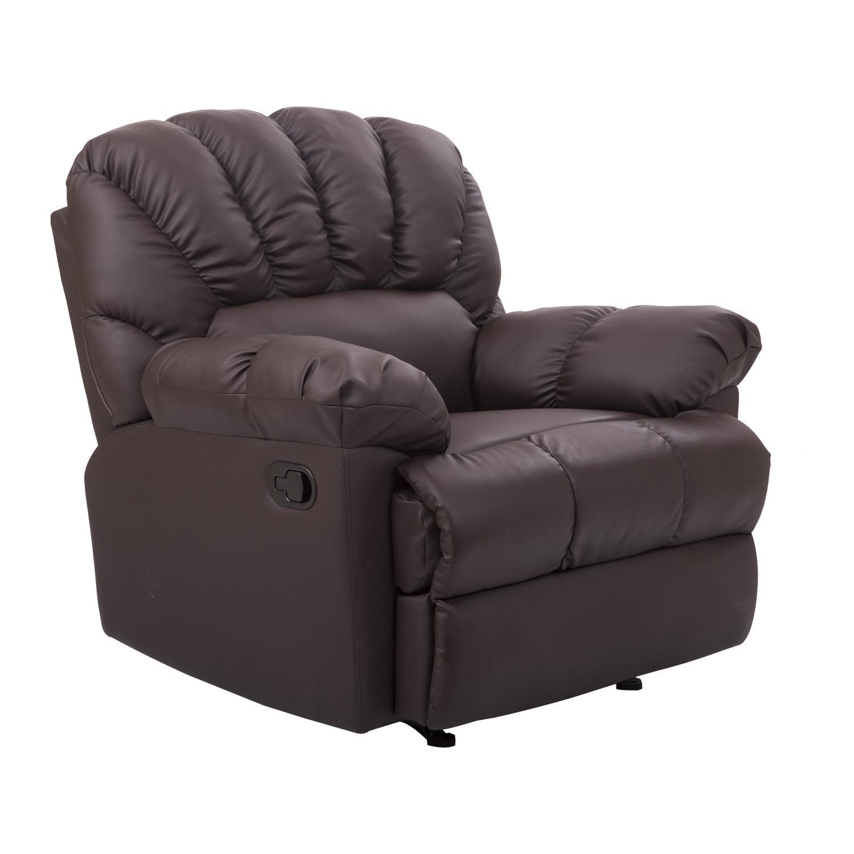 Homcom Pu Leather Rocking Sofa Chair Recliner – Cream – Walmart Within Sofa Chair Recliner (Image 10 of 20)