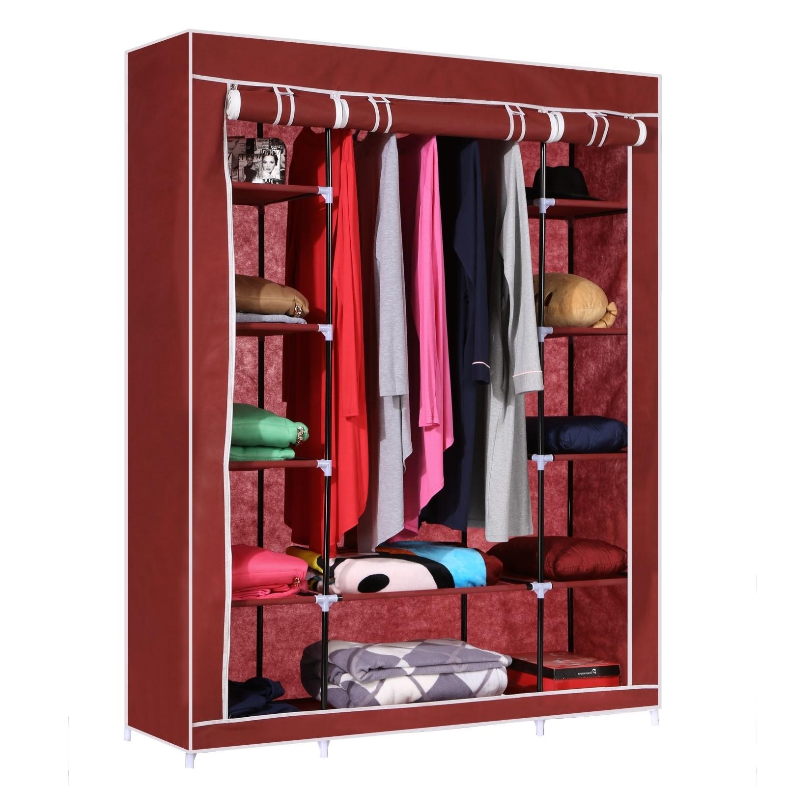 Homdox 52 Portable Closet Storage Organizer Wardrobe Clothes Intended For Portable Wardrobe Closet (View 24 of 27)