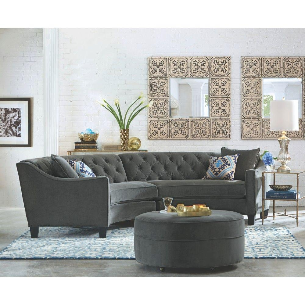 Home Decorators Collection Riemann 2 Piece Smoke Microsuede With Regard To Microsuede Sectional Sofas (Image 9 of 20)