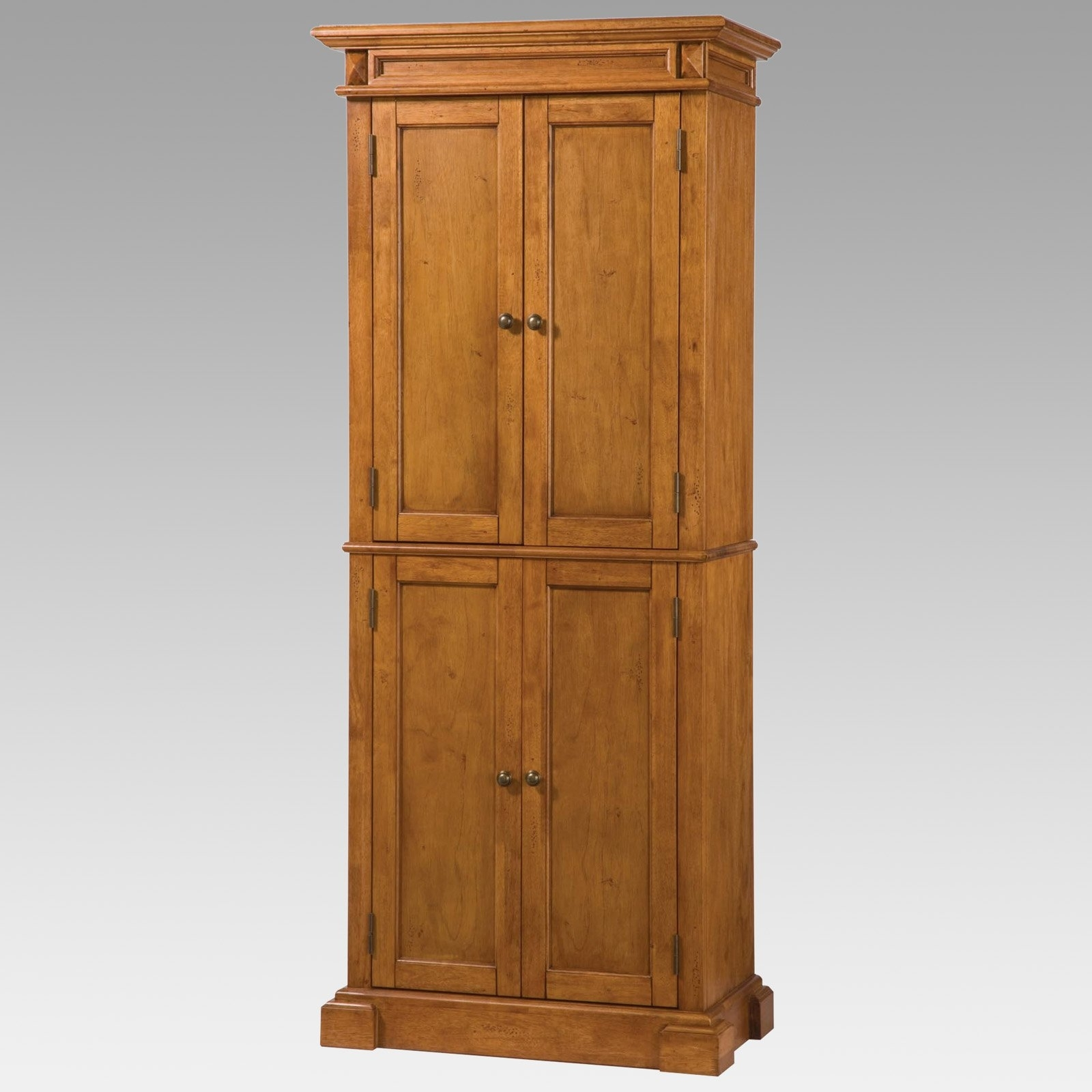Home Styles Americana Solid Hardwood Cottage Oak Finish Pantry Intended For Pantry Cabinets To Utilize Your Kitchen (Image 12 of 17)