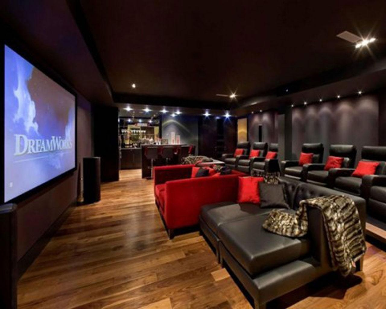 Home Theater Room Design Ideas Red Color Curve Shape Sofas Black In Theater Room Sofas (Image 11 of 20)