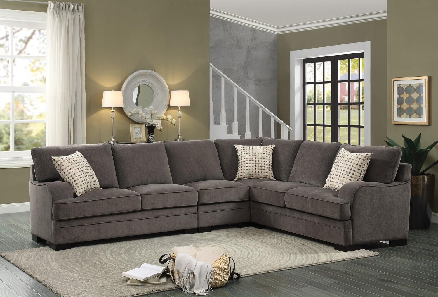 Homelegance Alamosa Sectional Sofa Set – Chenille – Brown 8335 Intended For Chenille Sectional Sofas (View 3 of 20)