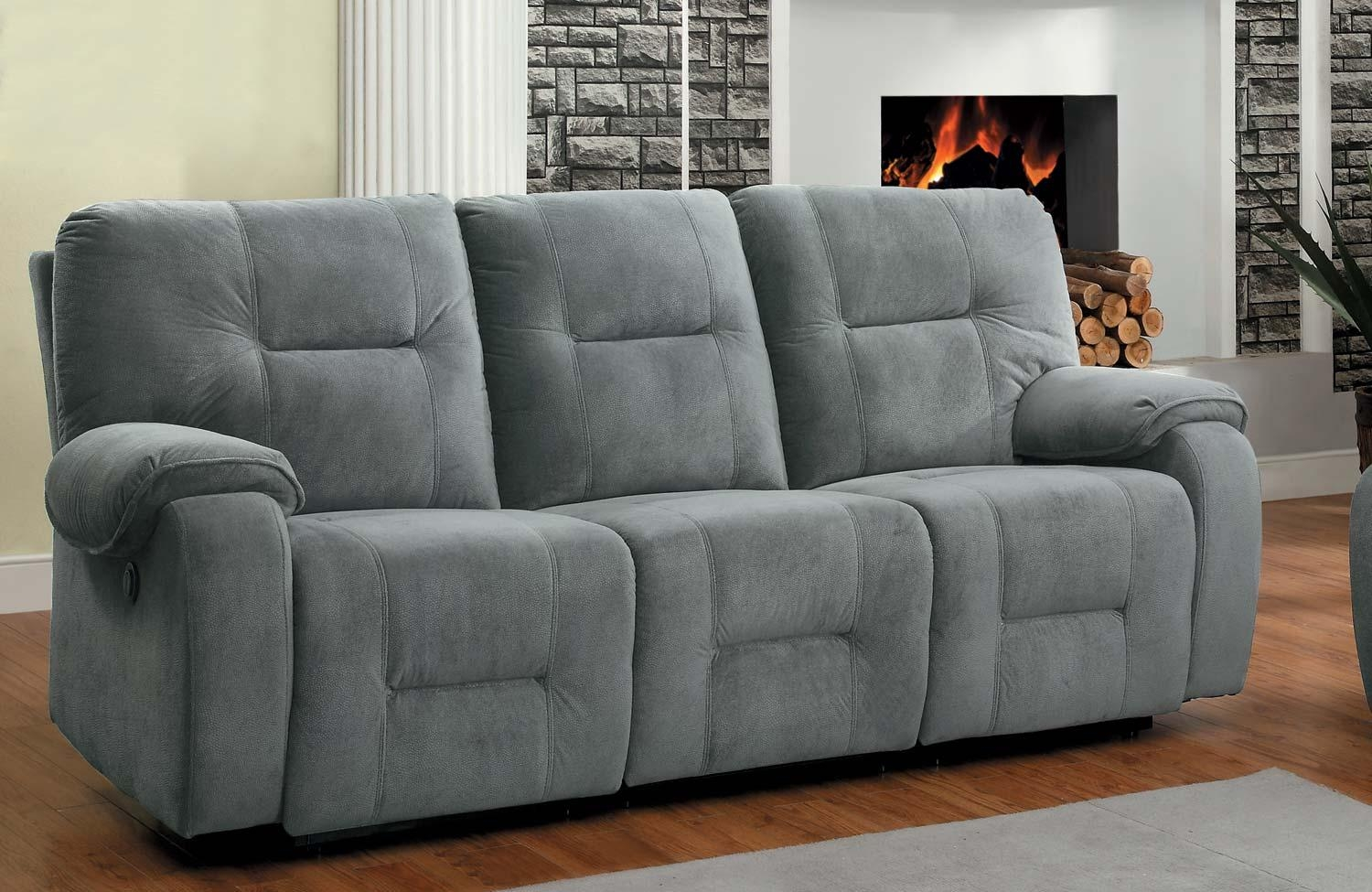 Homelegance Bensonhurst Power Double Reclining Sofa – Blue Grey Inside Blue Grey Sofas (Image 10 of 20)