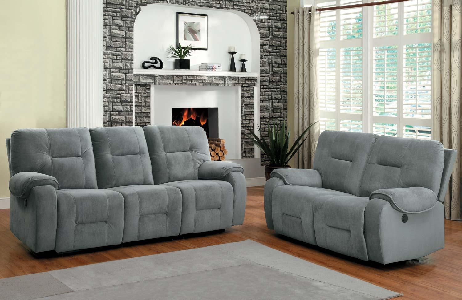 Homelegance Bensonhurst Power Reclining Sofa Set – Blue Grey Intended For Blue Grey Sofas (Image 11 of 20)