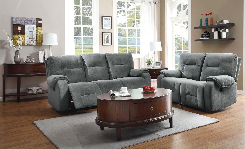 Homelegance Bensonhurst Power Reclining Sofa Set – Blue Grey Regarding Blue Gray Sofas (Image 10 of 20)