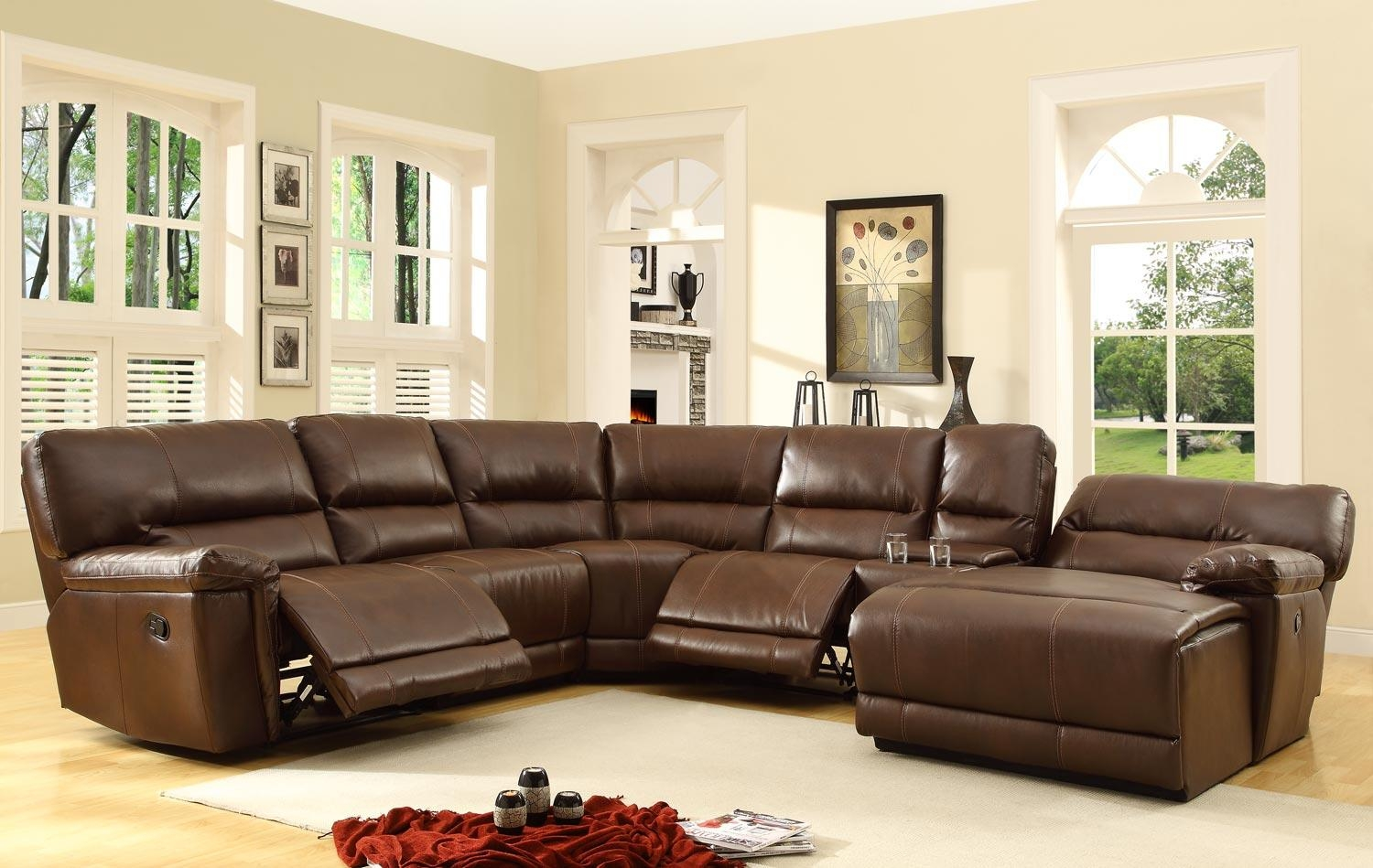 Homelegance Blythe Sectional Sofa Set – Brown – Bonded Leather Pertaining To Homelegance Sofas (Image 4 of 20)