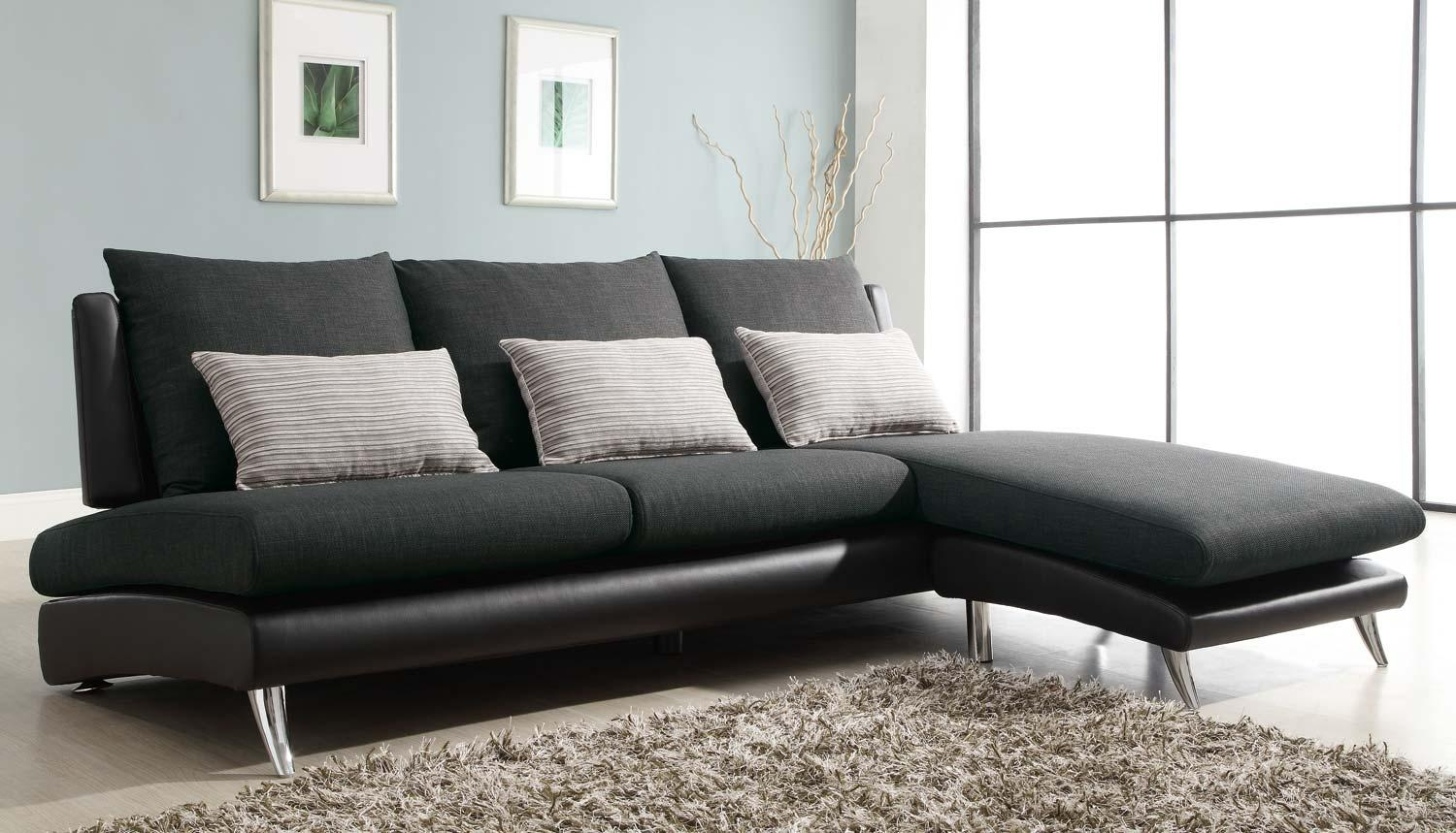 Homelegance Codman Reversible Sectional Sofa Chaise – Dark Grey Inside Black Vinyl Sofas (Image 8 of 20)