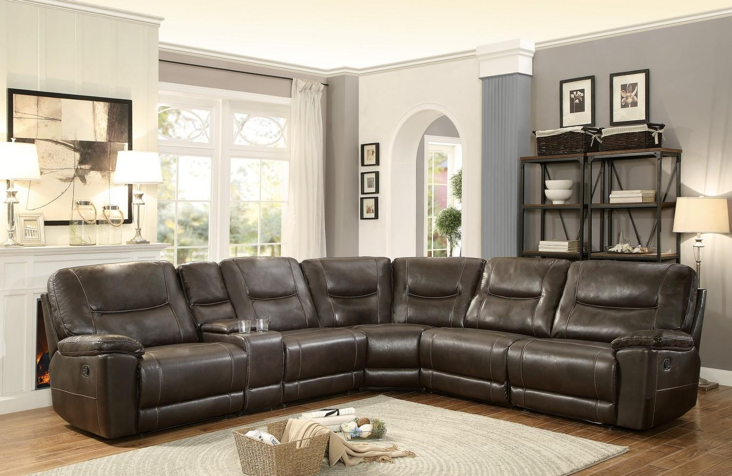 Homelegance Columbus Reclining Sectional Sofa Set D – Breathable Pertaining To Leather And Chenille Sectional (Image 10 of 20)