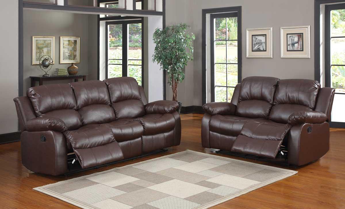 Homelegance Cranley Reclining Sofa Set – Brown Bonded Leather In Homelegance Sofas (Image 7 of 20)