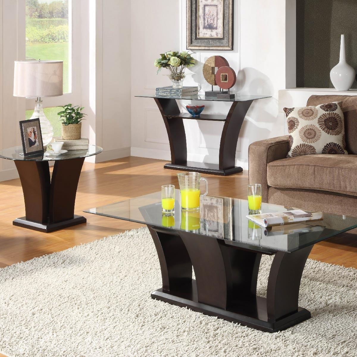 Homelegance Daisy Glass Top Sofa Table – Beyond Stores Inside Sofa Table Chairs (Image 8 of 20)