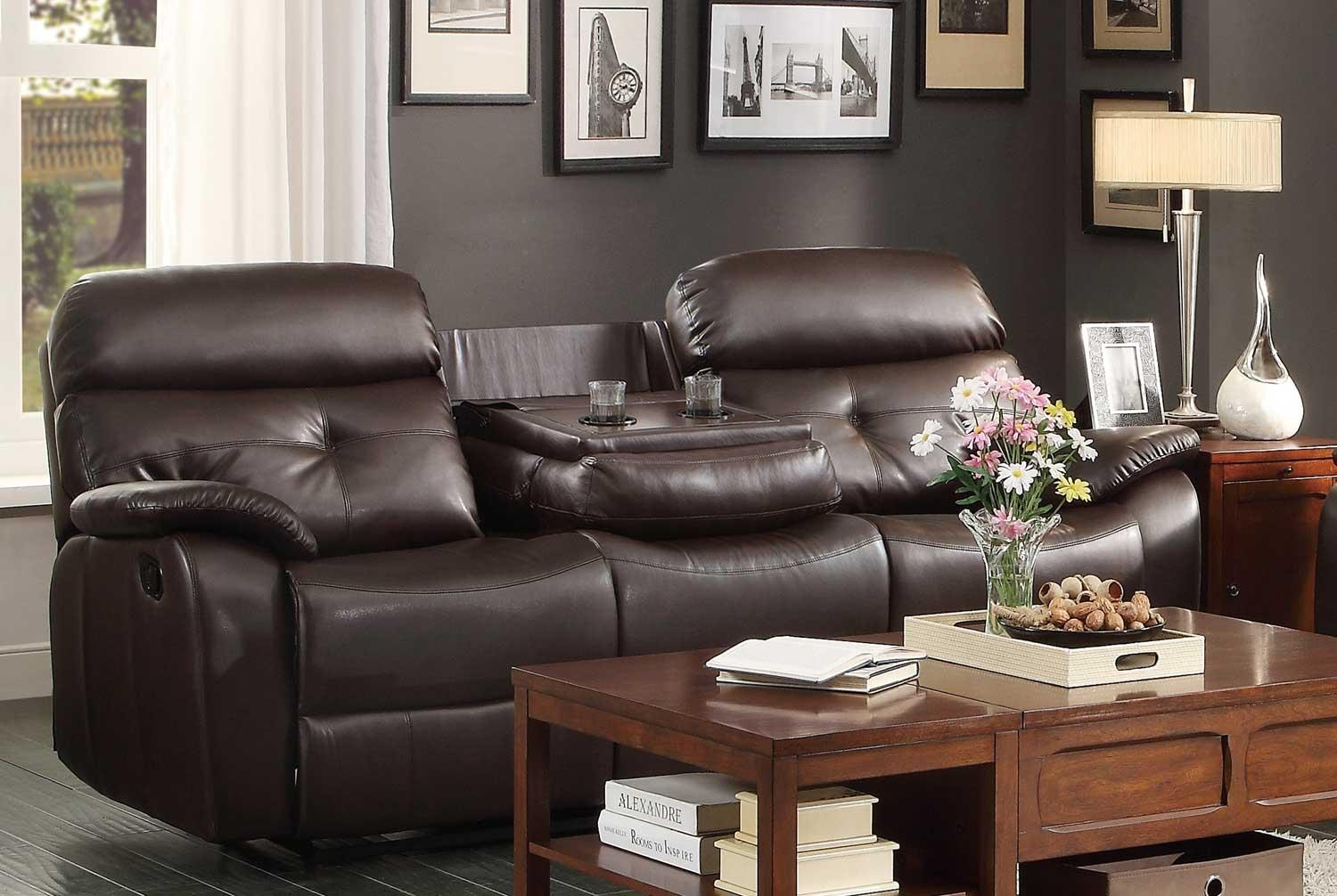 Homelegance Evana Double Reclining Sofa With Drop Down Center Cup Pertaining To Sofas With Console (View 4 of 20)