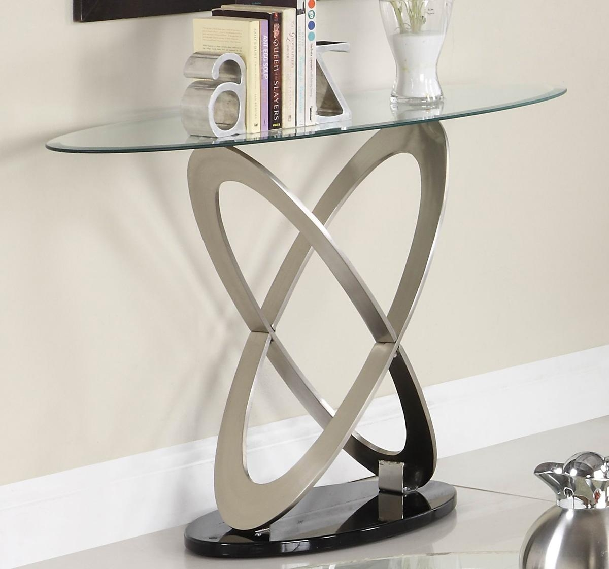 Homelegance Firth Oval Glass Sofa Table In Chrome & Black Metal Pertaining To Chrome Sofa Tables (Image 10 of 20)