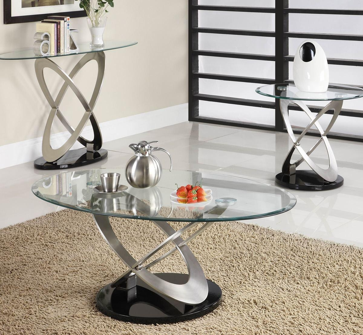 Homelegance Firth Oval Glass Sofa Table In Chrome & Black Metal With Regard To Sofa Table Chairs (Image 9 of 20)