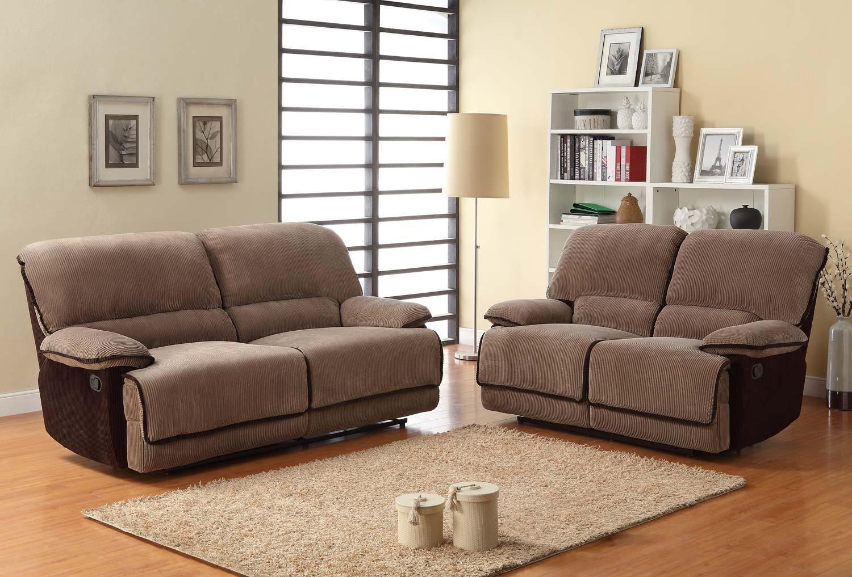 Homelegance Grantham Reclining Sofa Set – Brown – Corduroy U9717 3 For Brown Corduroy Sofas (Image 8 of 20)