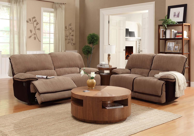 Homelegance Grantham Reclining Sofa Set – Brown – Corduroy U9717 3 Pertaining To Brown Corduroy Sofas (Image 9 of 20)