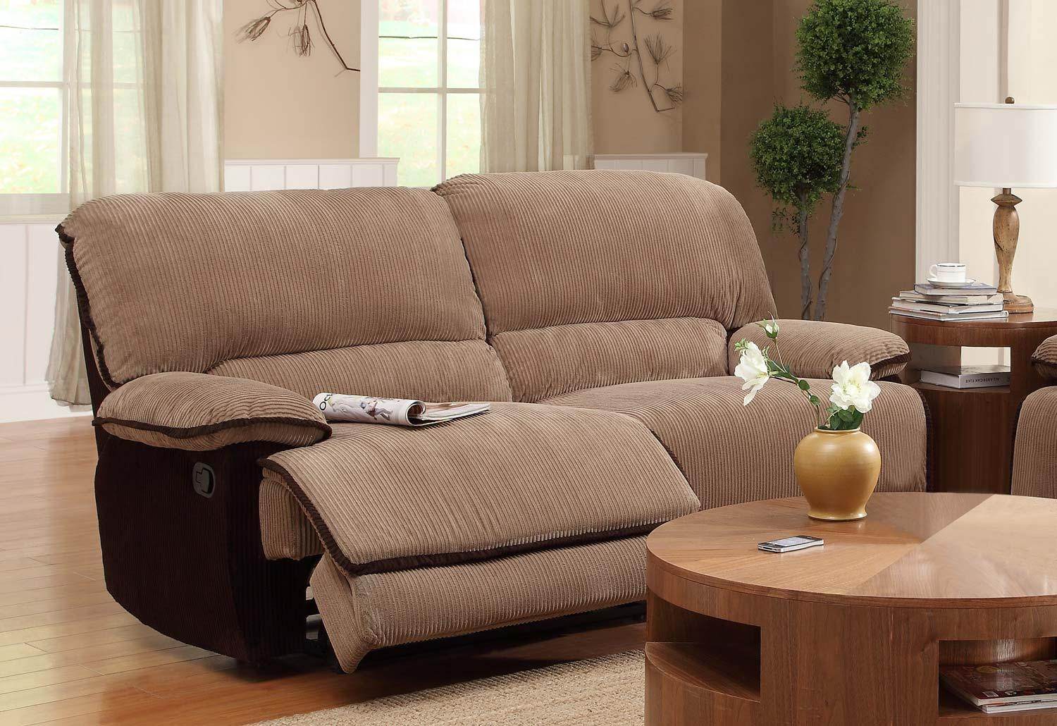 Homelegance Grantham Sofa Dual Recliner - Brown - Corduroy 9717-3 inside Brown Corduroy Sofas