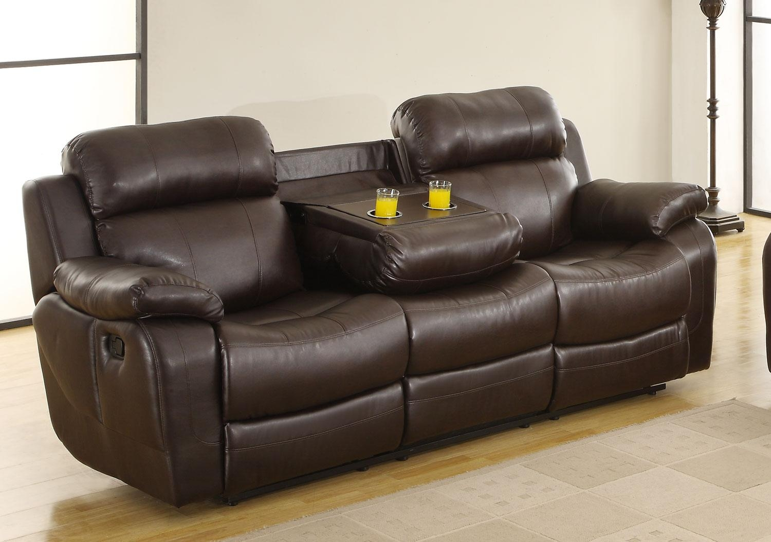 Homelegance Marille Sofa Recliner With Drop Cup Holder – Dark Intended For Sofas With Cup Holders (Image 7 of 20)