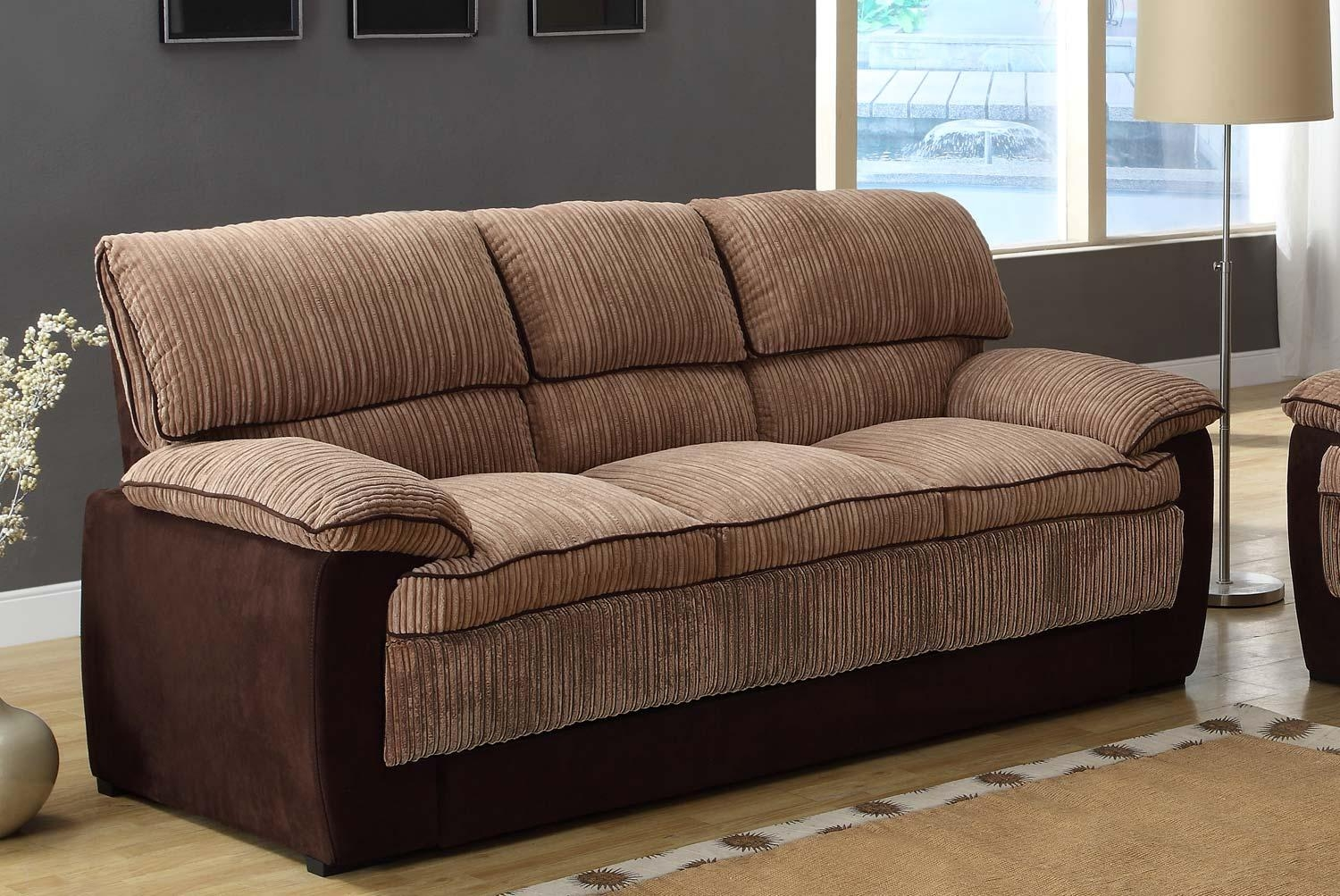 Homelegance Mccollum Sofa Brown Corduroy And Microfiber 9746 3 Intended For Sofas