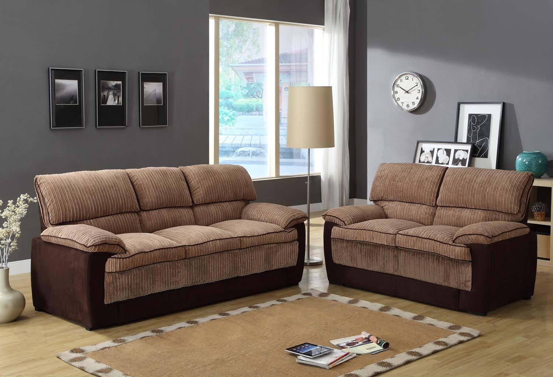 Homelegance Mccollum Sofa Set – Brown – Corduroy And Microfiber Within Brown Corduroy Sofas (Image 14 of 20)