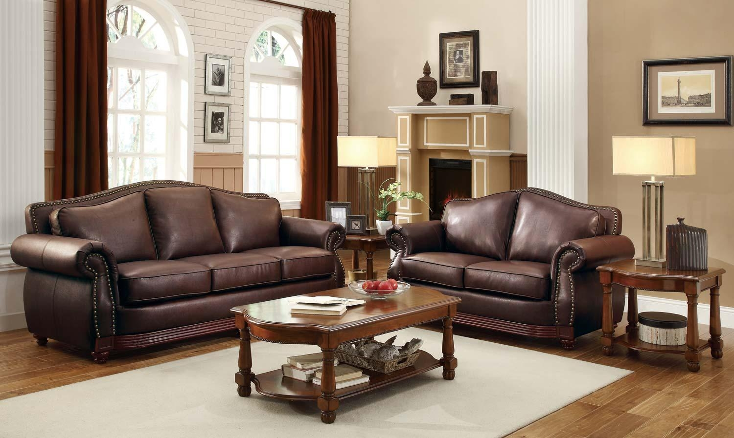 Homelegance Midwood Bonded Leather Sofa Collection – Dark Brown Throughout Homelegance Sofas (Image 13 of 20)