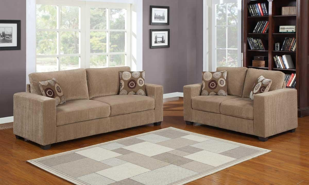 Homelegance Paramus Sofa Set - Brown Corduroy U9738-3 within Brown Corduroy Sofas