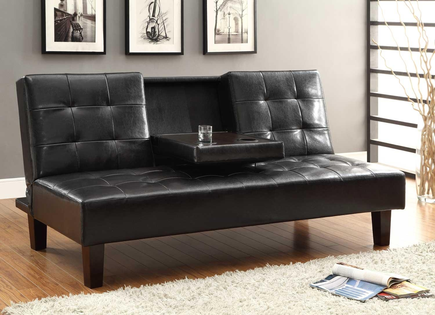 Homelegance Reel Click Clack Sofa Bed – Dark Brown – Tufted Fronts Pertaining To Clic Clac Sofa Beds (Image 12 of 20)