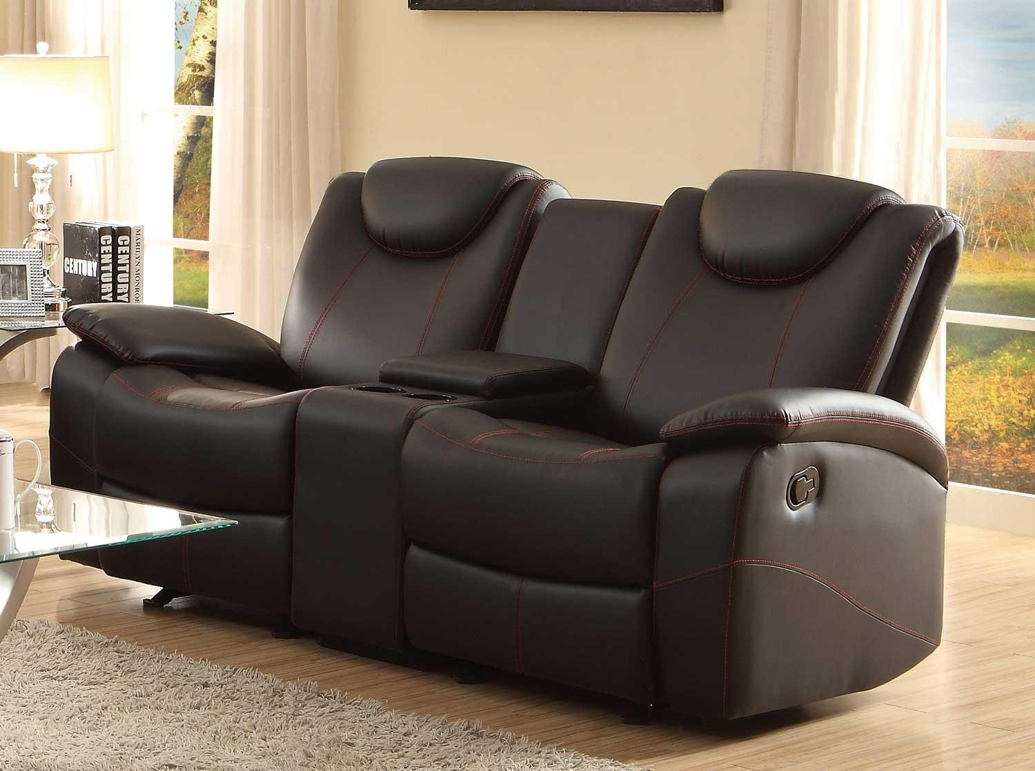 Homelegance Talbot Double Glider Reclining Love Seat With Center Inside Sofas With Console (Image 6 of 20)