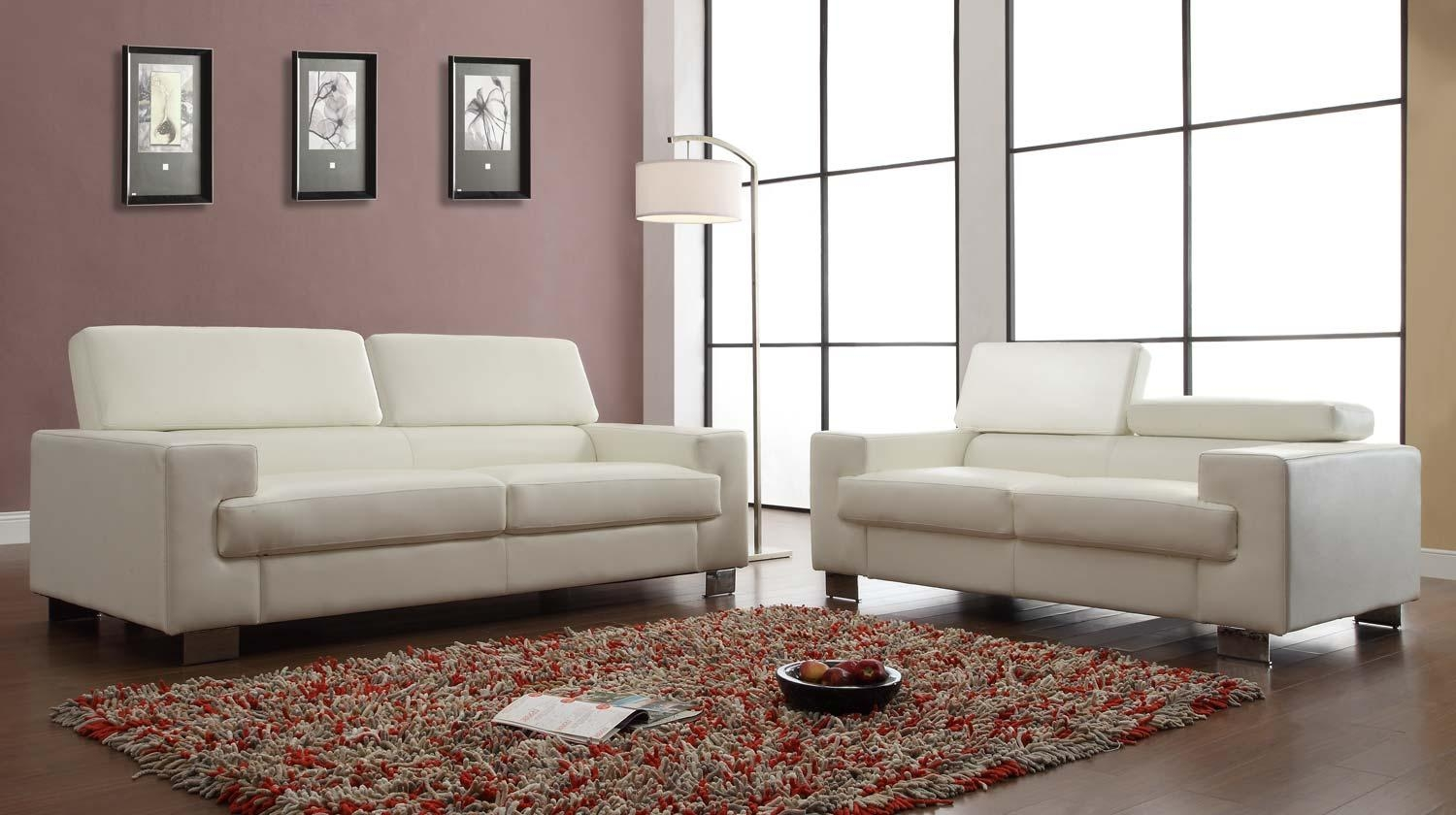 Homelegance Vernon Sofa Set – White – Bonded Leather U9603Wht 3 Within Homelegance Sofas (View 6 of 20)