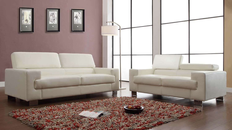 Homelegance Vernon Sofa Set – White – Bonded Leather U9603Wht 3 Within Homelegance Sofas (Image 17 of 20)