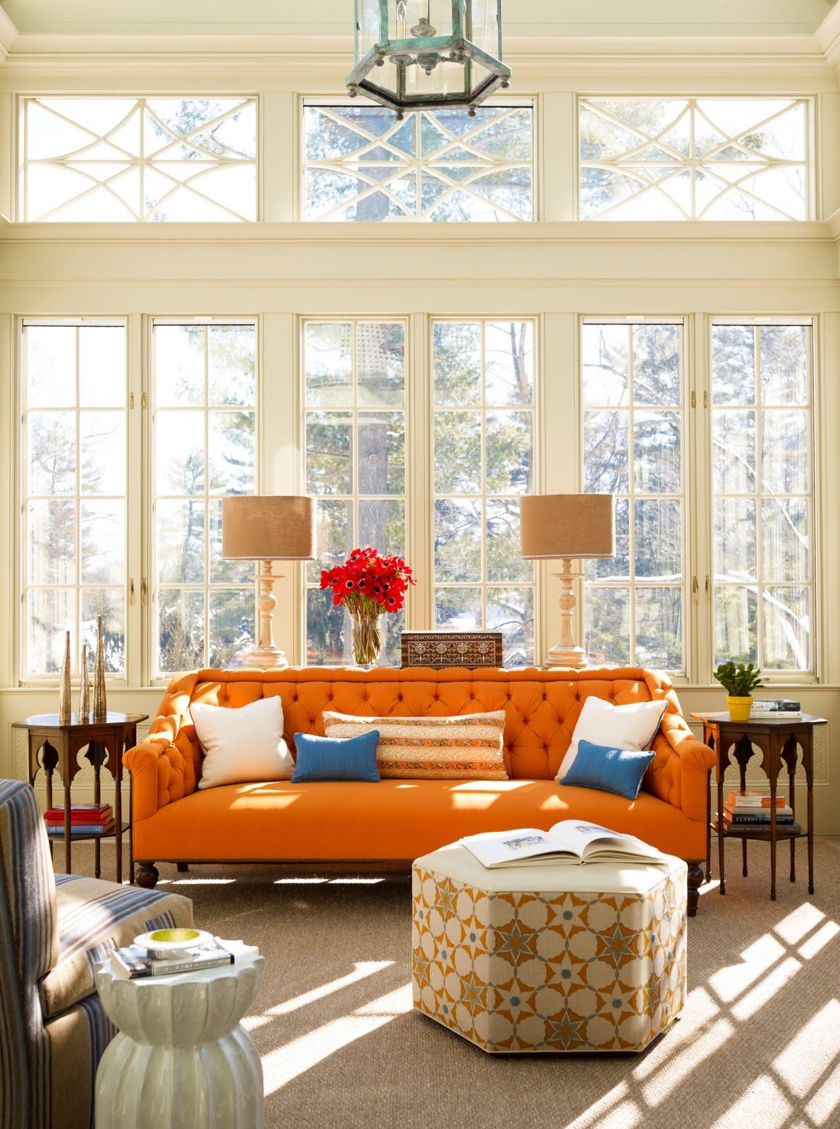 How To Adorn Your Interior With Orange Sofa | Homesfeed Regarding Orange Sofa Chairs (View 9 of 20)