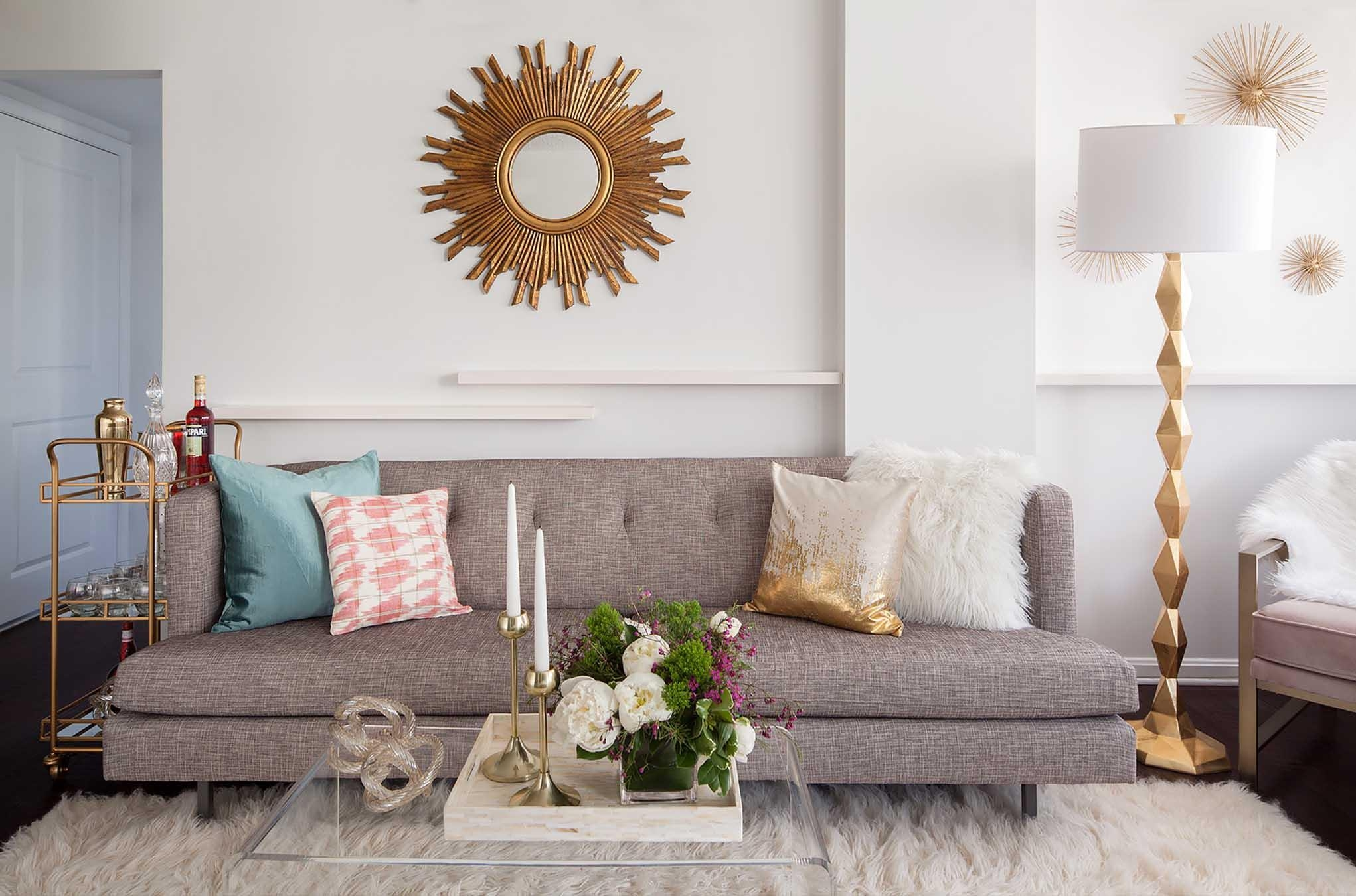 How To Celebrate Your Beauty With Statement Mirrors | Havenly Throughout Mirror Above Sofas (Image 3 of 20)