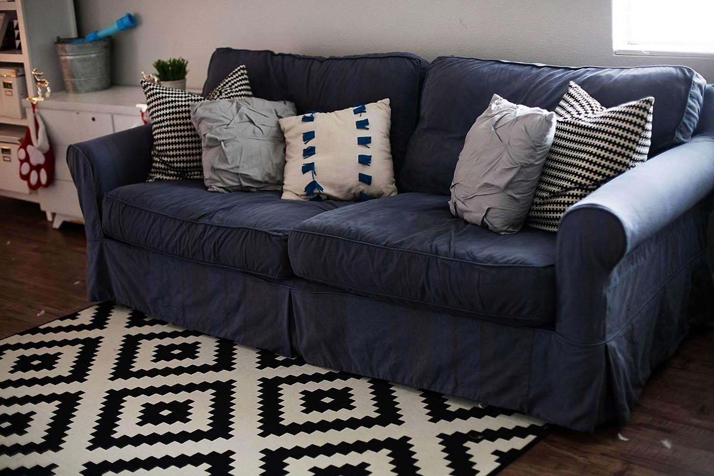 How To Dye A Sofa Slipcover Throughout Navy Blue Slipcovers (Image 6 of 20)