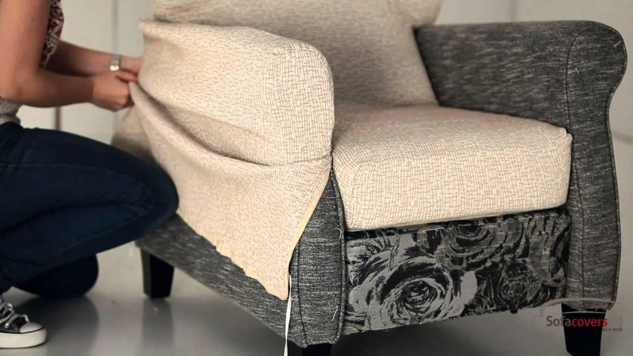 How To Install A Reclining Armchair Cover – Youtube With Regard To Armchair Armrest Covers (Image 9 of 20)