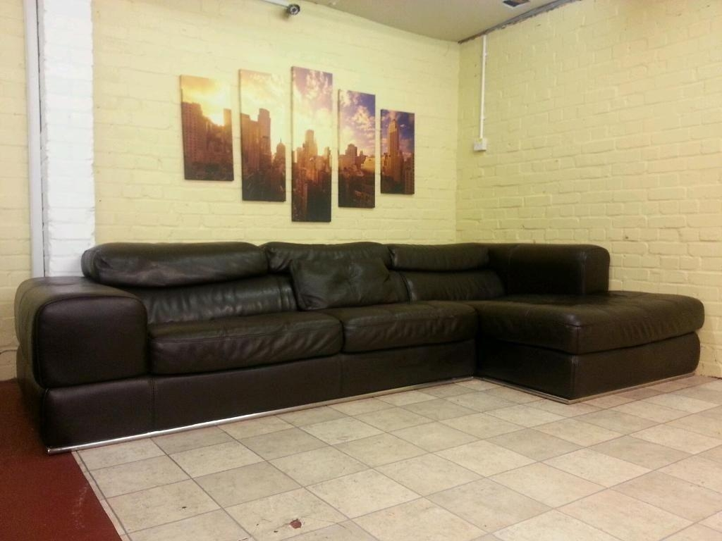 Huge Brown Maxdivani Leather Corner Sofa | Home & Garden Throughout 2×2 Corner Sofas (Image 3 of 20)